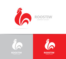 Vector Of Red Fire Rooster And...