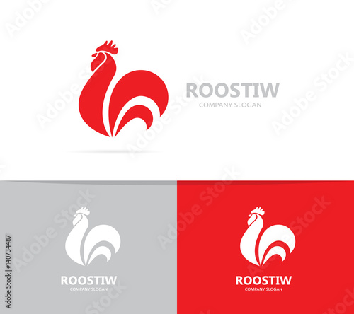 Photo Vector of red fire rooster and cock logo combination