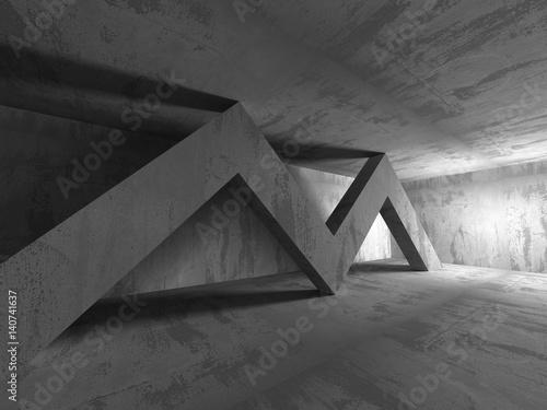 Poster Betonbehang Dark basement empty room interior. Concrete walls