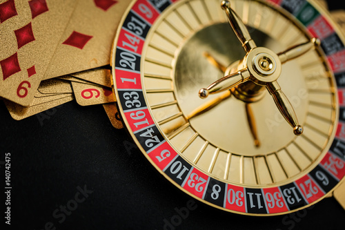 Roulette wheel gambling in a casino table. плакат