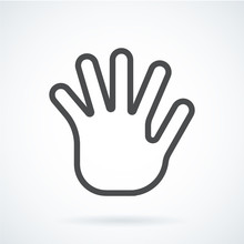 Black Flat Icon Gesture Hand Of A Human Greeting Palm