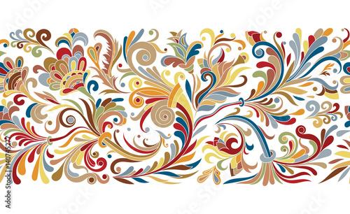 Fotografía  Vintage floral baroque seamless border with blooming magnolias, rose and twigs,