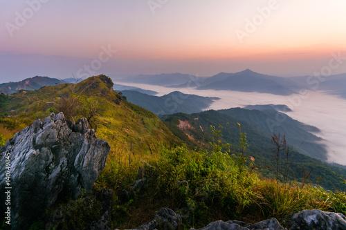 Fototapety, obrazy: Beautiful summer sunrise in mountains.