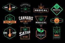 Medical Cannabis Emblems, Label, Logo Set Vector Template