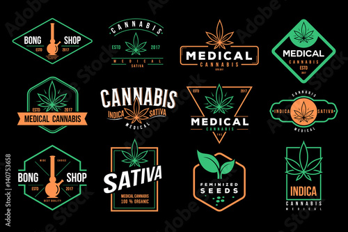 medical cannabis emblems, label, logo set vector template Canvas Print