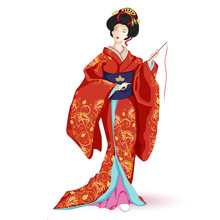 Japan National Doll Hina Ningyo In A Red Kimono With Pattern Of Gold Lilies . A Character In A Cartoon Style. Vector Illustration On White Background.
