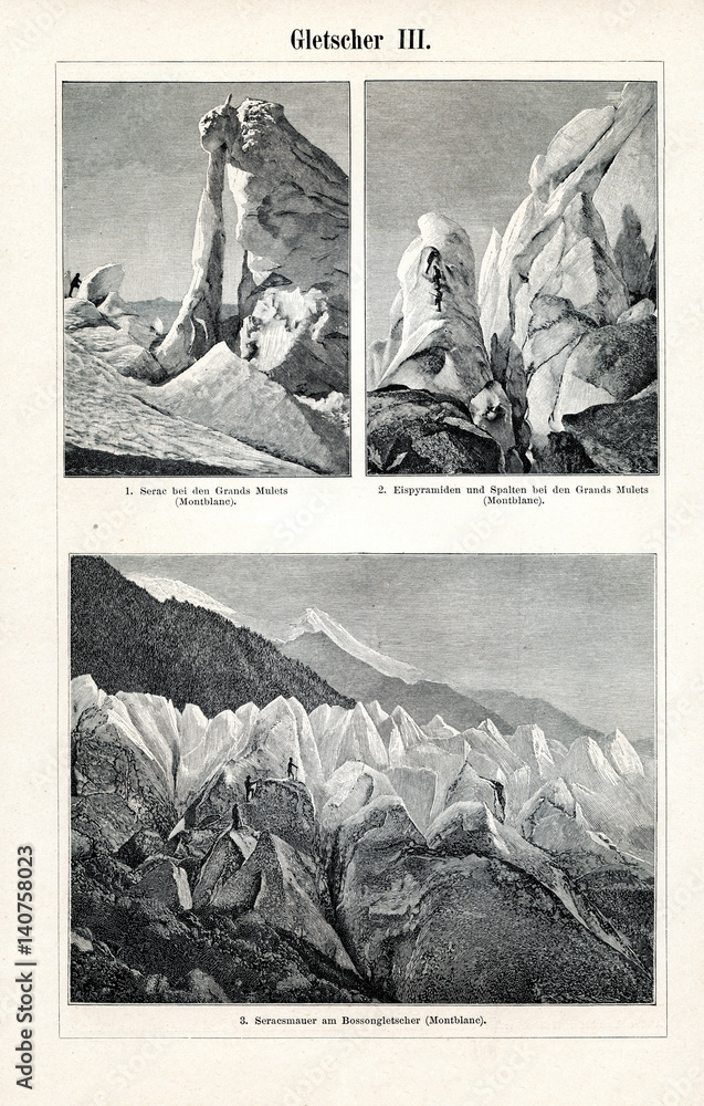 Fényképezés Bossons Glacier on the north side of Mont Blanc (from Meyers Lexikon, 1895, 7/65