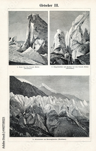 Valokuva  Bossons Glacier on the north side of Mont Blanc (from Meyers Lexikon, 1895, 7/65