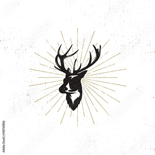 Hand drawn deer's head label. Vintage black vector silhouette of Deer head with antlers, sunbursts isolated on white background. Wild animal shape design. Stamp Illustration