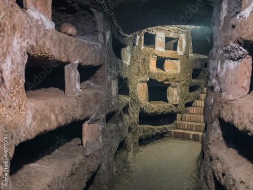 Photo sur Toile Cimetiere Catacombe di San Pancrazio under the basilica in Trastevere, Rome