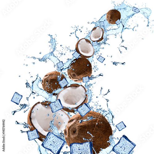 Canvas Prints Palm tree Water splash with coconut isolated on white background. Splash motion with fruits. Abstract object