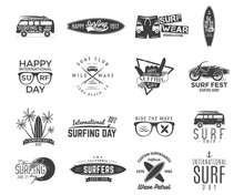 Vintage Surfing Graphics And Emblems Set For Web Design Or Print. Surfer, Beach Style Logo Design. Surf Badge. Surfboard Seal, Elements, Symbols. Summer Boarding On Waves. Vector Hipster Insignias