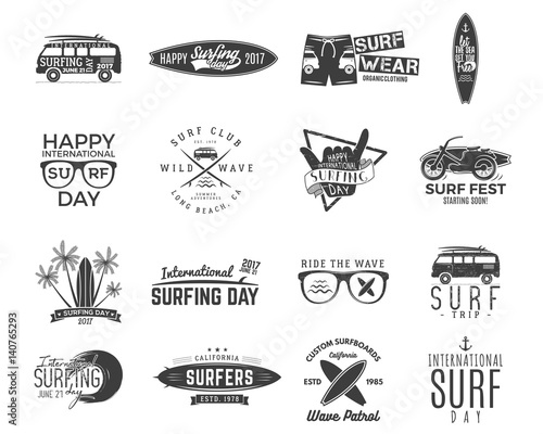 Valokuva Vintage surfing graphics and emblems set for web design or print
