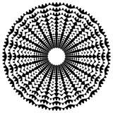 Promieniujący / promieniowy abstrakcyjny okrągły element geometryczny. Streszczenie czarno-biały kształt - 140767001