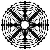 Promieniujący / promieniowy abstrakcyjny okrągły element geometryczny. Streszczenie czarno-biały kształt - 140767039