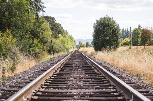 Photo Stands Railroad Train Tracks in Green Summer Landscape