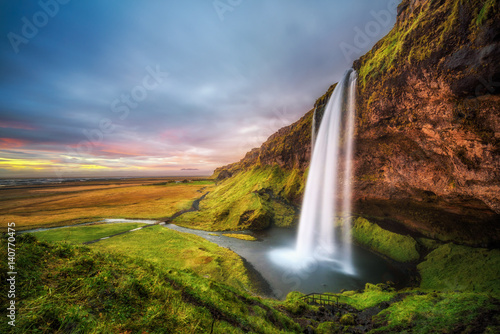 Keuken foto achterwand Noord Europa Seljalandsfoss Waterfall in Iceland at sunset