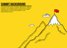 Sketch Style Minimalist Banner Of Mountain Summit And Red Flag