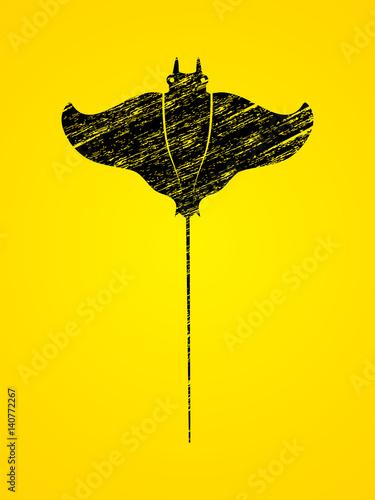plaszczka-ryba-batoids-zaprojektowana-przy-uzyciu-wektora-graficznego-pedzla-czarny-grunge
