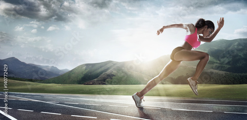 Sport backgrounds. Runner. Dramatic scene.