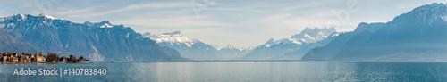 Panorama du lac Léman côté suisse Wallpaper Mural