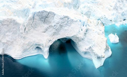 Poster Glaciers huge icebers on arctic ocean in Greenland