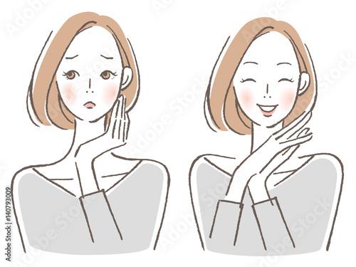Obraz 女性 悩み喜び セット - fototapety do salonu