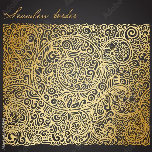 Cuadros en Lienzo  antique style seamless border, golden foil