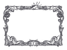 Vintage Frame With Mermaids And Sea Horses