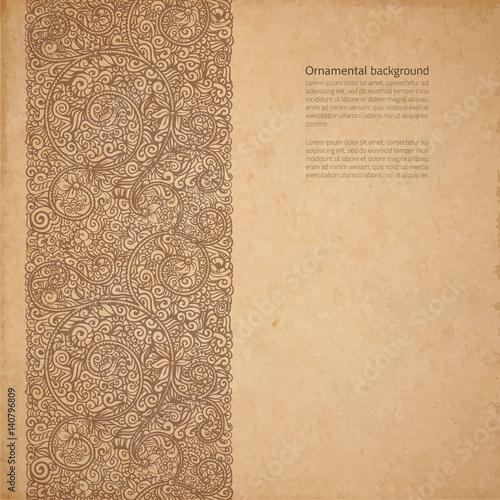 Obraz na płótnie Vector ornate background with copy space