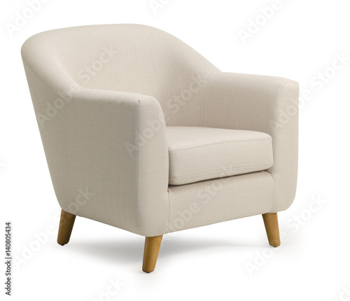 Tub Chair Beige Fabric Isolated On White Drop Shadow