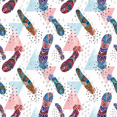 Fototapeta Seamless colorful watercolor pattern with bright feathers