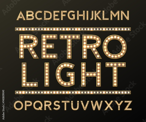 Photo  Alphabet with Bulb Lamps Gold Light