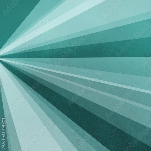 blue green background paper with abstract sunburst design of rays or beams of sunshine light in