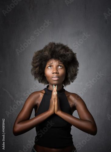 african girl praying Canvas Print