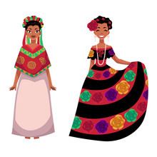 Two Mexican Woman In Traditional National Dress Decorated With Embroidered Flowers, Cartoon Vector Illustration Isolated On White Background. Two Full Length Portrait Of Mexican Woman In Dress