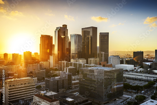 Staande foto Los Angeles Downtown Skyline at Sunset. Los Angeles, California, USA
