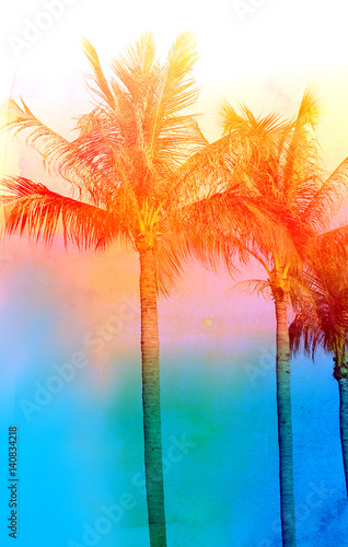 Poster Tropical beach Retro photo of palm trees