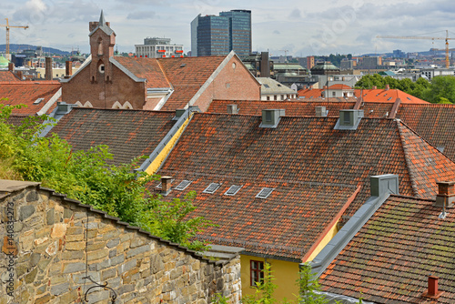 Photo  View of city from above. Roofs of Oslo
