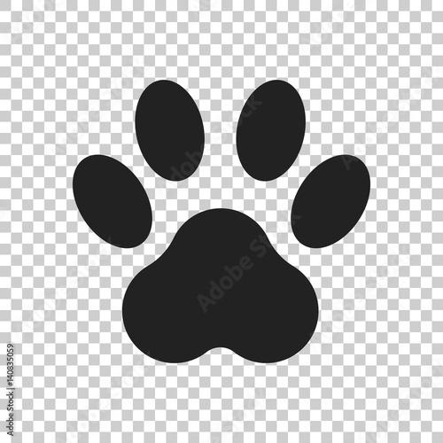 Obraz Paw print icon vector illustration isolated on isolated background. Dog, cat, bear paw symbol flat pictogram. - fototapety do salonu