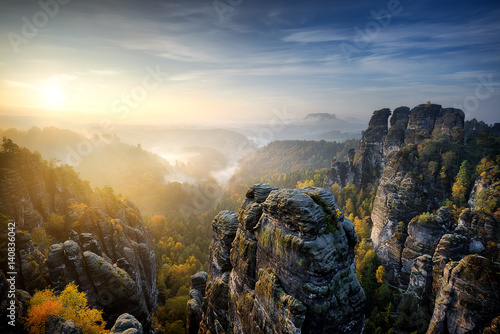 Foggy sunrise at Bastei, Saxon Switzerland, Germany