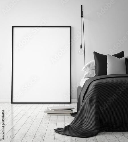 mock up poster frame in hipster bedroom interior background, scandinavian style, 3D render, 3D illustration