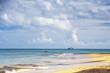 beautiful Caribbean sea view with ship