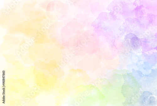 Beautiful watercolor rainbow pattern illustration. Watercolour texture. Pastel tone.