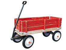 Little Red Wood Wagon. Isolated.