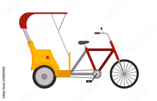 Rickshaw bike vector isolated taxi yellow tourism illustration transport isolate Fototapeta
