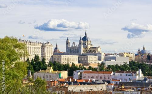 Panoramic view to Santa Maria la Real de La Almudena cathedral and Royal Palace in Madrid, Spain