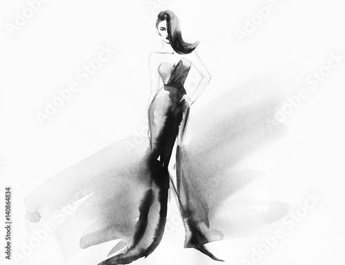 Poster Portrait Aquarelle Woman style. Runway elegant dress. Fashion illustration. Watercolor painting