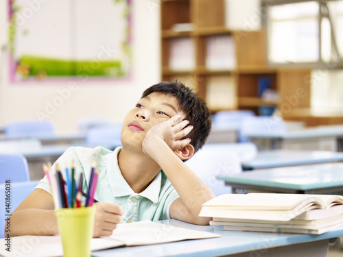 asian pupil thinking in classroom Wallpaper Mural