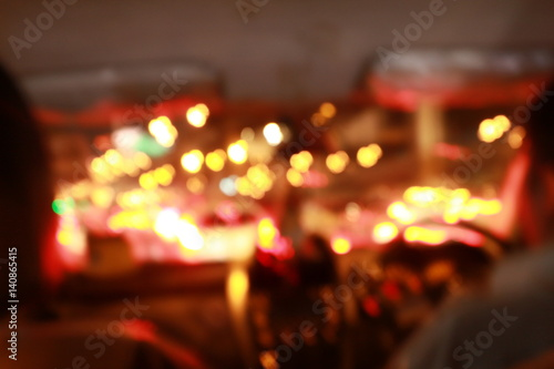 Foto op Plexiglas New York TAXI Night road view from inside car natural light street and other cars is motion blurred with bokhen use slow speed shutter.